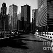 Kayaks On The Chicago River - Black Art Print