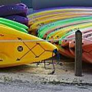 Kayaks Stacked Art Print