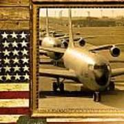 Kc-135 Stratotanker Rustic Flag Art Print