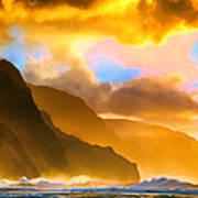 Ke'e Beach Sunset Art Print