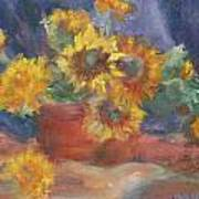 Keep On The Sunny Side - Original Contemporary Impressionist Painting - Sunflower Bouquet Art Print