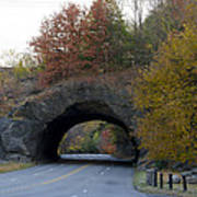Kelly Drive Rock Tunnel In Autumn Art Print