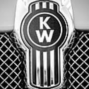 Kenworth Truck Emblem -1196bw Art Print
