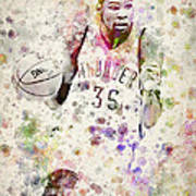 Kevin Durant In Color Art Print by Aged Pixel