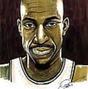 Kevin Garnett Portrait Art Print by Dave Olsen