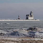 Kewaunee Lighthouse In Winter Art Print