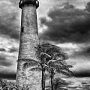 Key Biscayne Fl Lighthouse Black And White Img 7167 Art Print