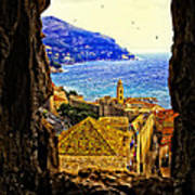 Key Hole View Of Dubrovnik 2 Art Print
