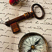 Key Ring And Compass Art Print