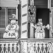 Key West Christmas Decorations 2 - Black And White Art Print