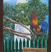 Key West Lighthouse Rooster Art Print
