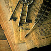 Keys And Quill On Old Papers Art Print