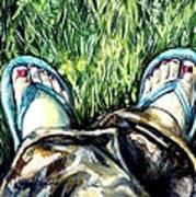 Khaki Pants And Flip Flops Art Print