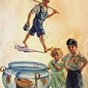 Kids And Fishing  1934 Art Print