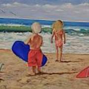 Kids at the Beach Art Print