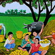 Kids Eating Mangoes Print by Cyril Maza