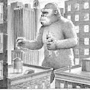 King Kong Stands In A Large City Art Print