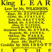 King Lear Playbill Art Print