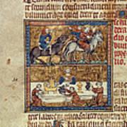 King Riding And At Table Art Print
