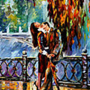 Kiss After The Rain - Palette Knife Oil Painting On Canvas By Leonid Afremov Art Print