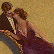 Kissing On The Chaise-longue Valentine Art Print by Sarah Vernon