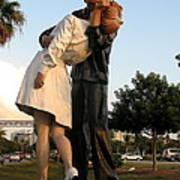 Kissing Sailor At Dusk - The Kiss Art Print