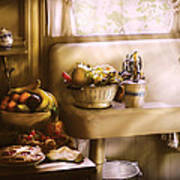 Kitchen - A 1930's Kitchen  Art Print by Mike Savad