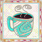 Kitchen Cuisine Hot Cuppa Aqua By Romi And Megan Art Print