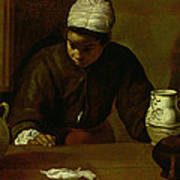Kitchen Maid With The Supper At Emmaus, C.1618 Oil On Canvas Art Print