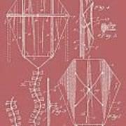 Kite Patent On Red Art Print