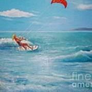 Kite Serf Art Print by George Siaba