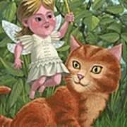 Kitten With Girl Fairy In Garden Art Print