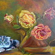 Kitty In The Roses Art Print