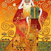 Klimt Santa Art Print