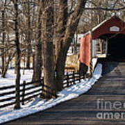 Knecht's Bridge On Snowy Day - Bucks County Art Print