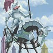 Knight In Shining Armour On Horesback Art Print
