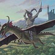 Knight Riding On Flying Dragon Print by Martin Davey