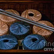 Knitting Yarn In A Wooden Box Art Print