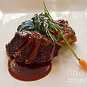 Kobe Beef With Spring Spinach And A Wild Mushroom Bread Pudding Art Print
