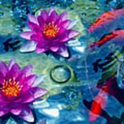 Koi And The Water Lilies Art Print