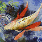 Koi And Water Ripples Art Print by Michael Creese