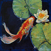 Koi And White Lily Art Print