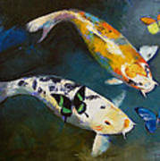 Koi Fish And Butterflies Art Print by Michael Creese