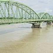 Komarom Bridge Over Flooding Danube River Art Print