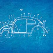 Komenda Vw Beetle Body Design Patent Art 1944 Blueprint Art Print by Ian Monk