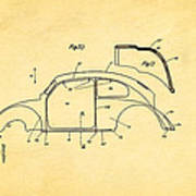 Komenda Vw Beetle Body Design Patent Art 2 1944 Art Print