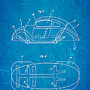 Komenda Vw Beetle Official German Design Patent Art Blueprint Art Print by Ian Monk