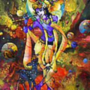 Krishna With A Star Deer Art Print