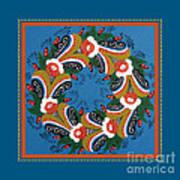 Kurbits Wreath Blue Art Print