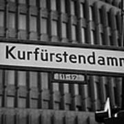 Kurfurstendamm Street Sign Berlin Germany Print by Joe Fox
